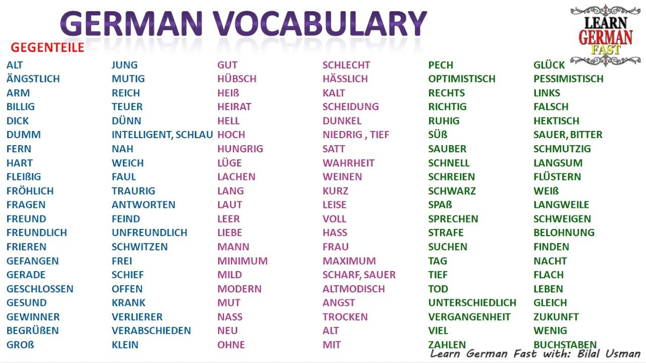 german vocabulary gegenteil opposite word a1 a2 b1