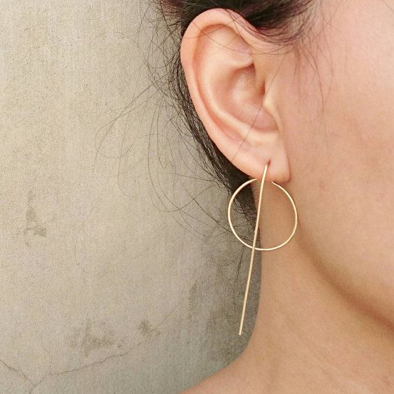 Long Line And Karma Circle Modern Earrings Hoops Minimalist Ear Jackets Rose Gold Filled Sterling Silver