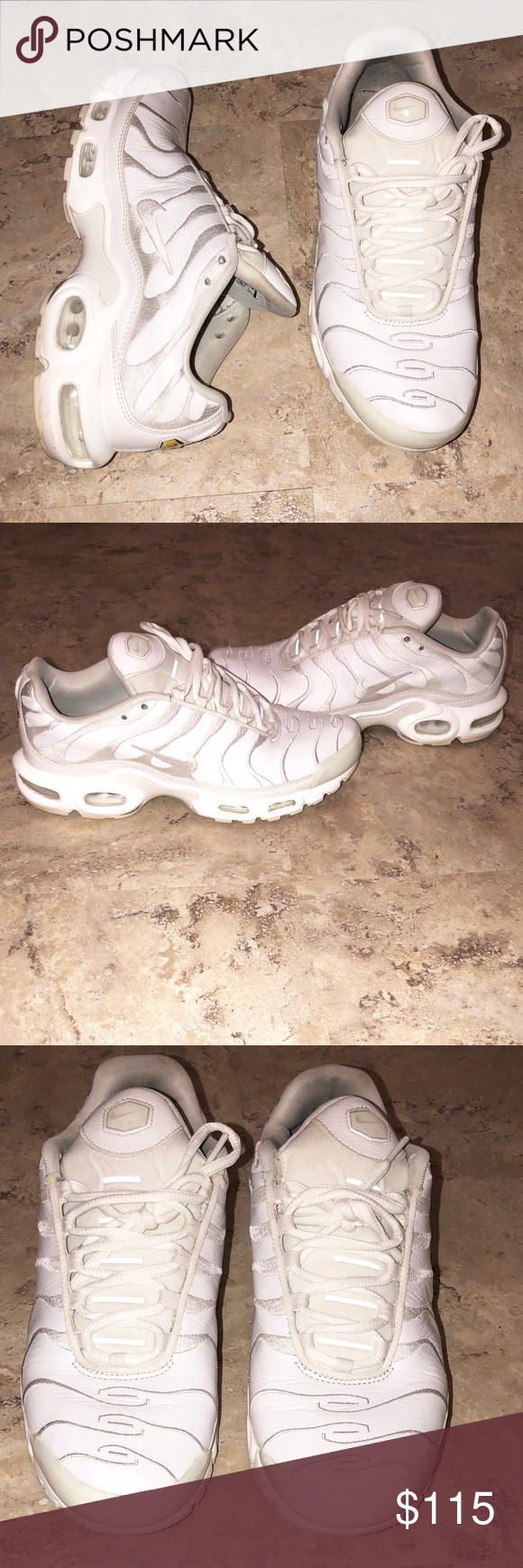 the best attitude 58ba1 886fb ... new zealand nike air max plus tn triple white mens size 9.5 pre owned.  doesnt
