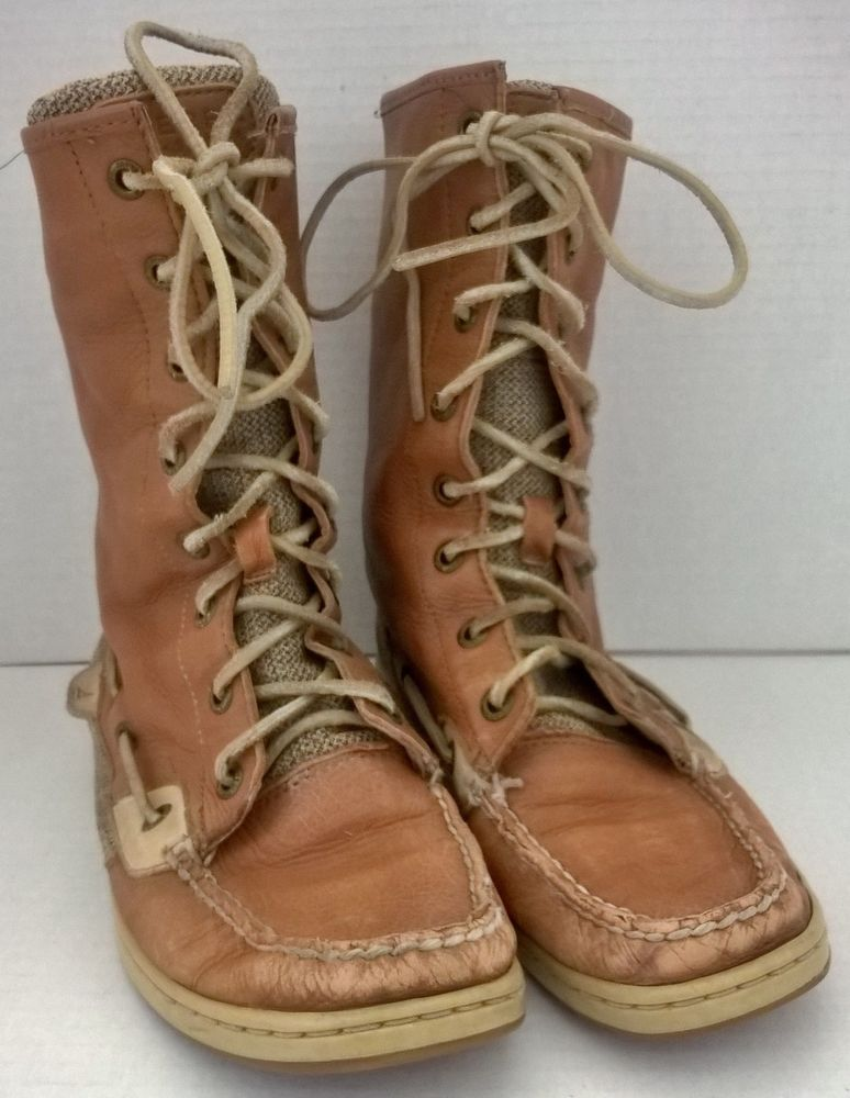 Boots Tall Mid-Calf Tan Leather Size