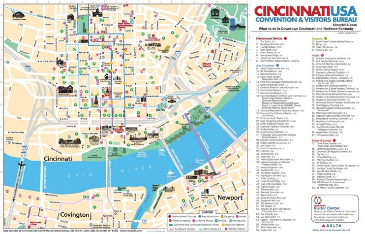 Cincinnati hotels and sightseeings map Maps Pinterest