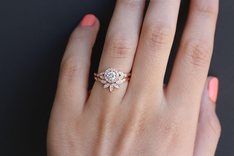 Unique Gold Ring Leaves Side Band 14k Rose Gold Ring Gold Ring