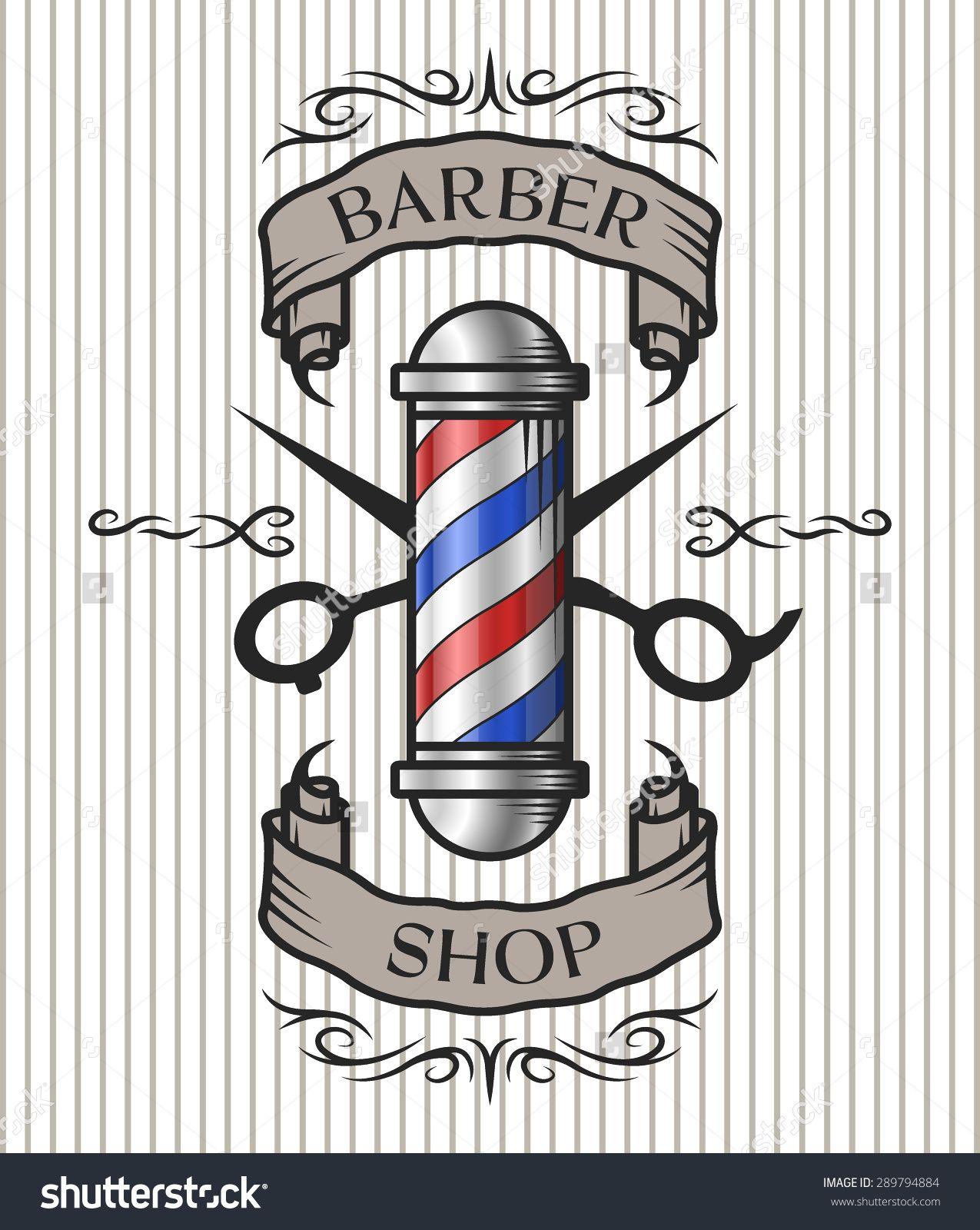 Stock Vector Barber Shop Emblem Barber Pole Scissors And Ribbon For Text In An Old Vintag Ideias Para Barbearias Quadros Para Barbearia Desenhos Para Barbearia