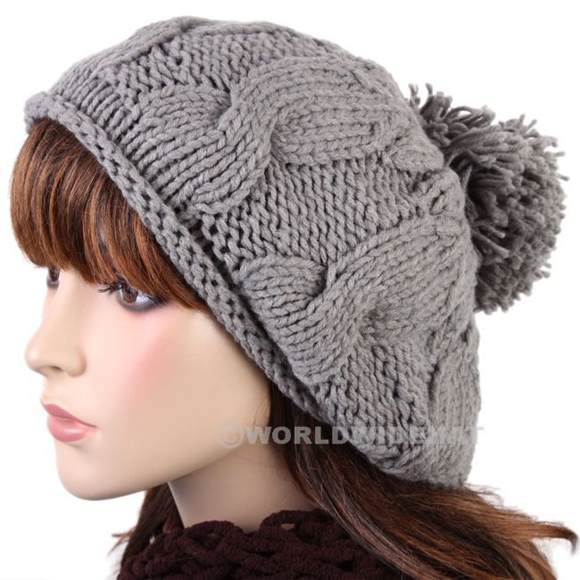 053c667d3aae Luxury Charm Tufted Knit Beanie Winter Beret Hat Cap Gray be929g Super cute winter  hats under $8!