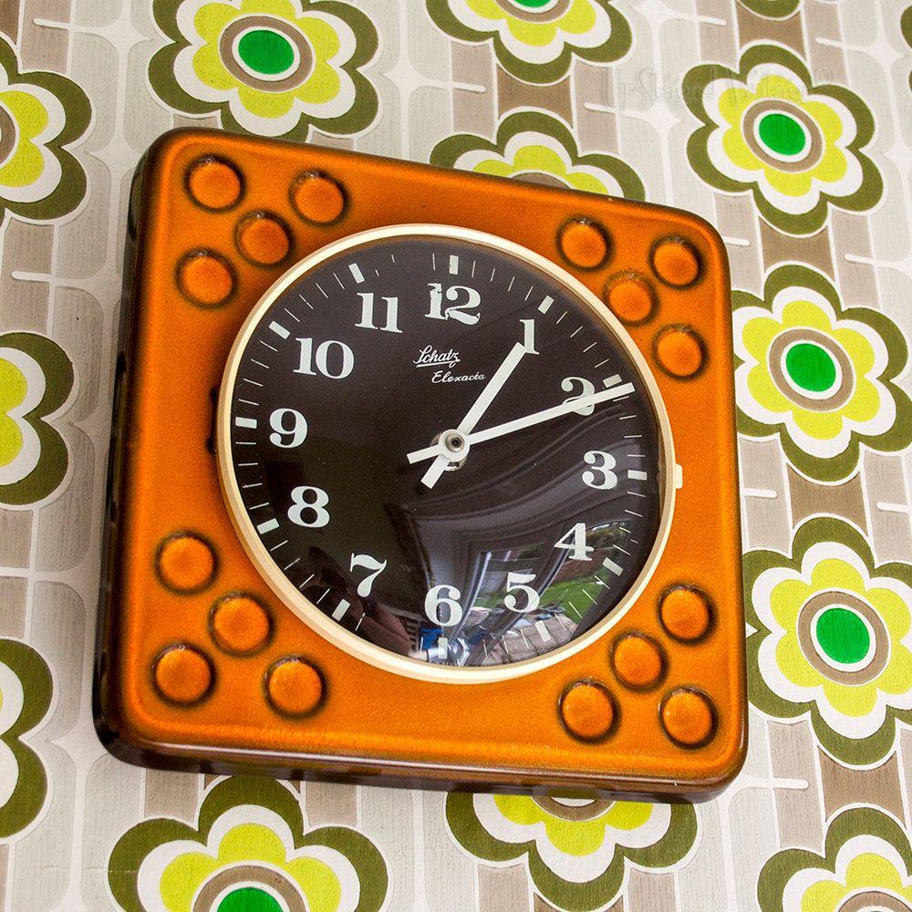 Vintage 1960s Retro Orange Schatz Elexacta Ceramic West