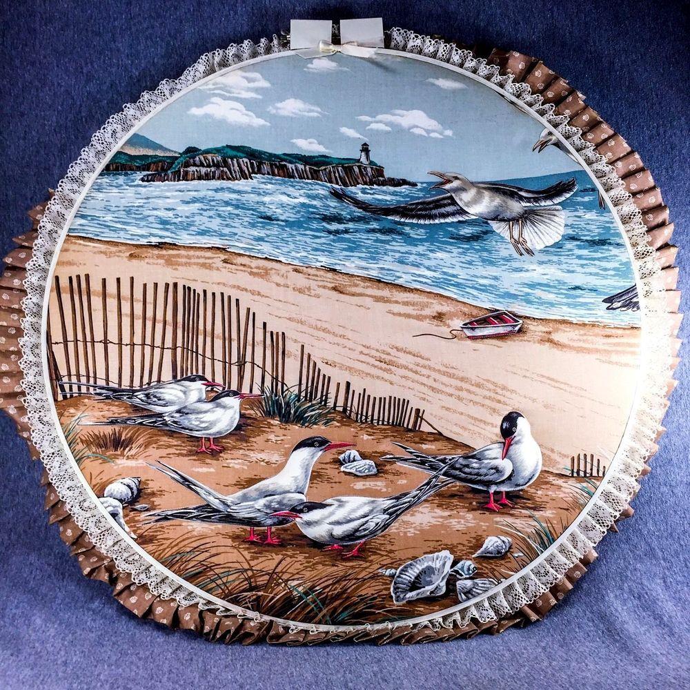 Raised Fabric Nautical Wall Decor Seagulls Ocean Birds Beach Lighthouse Scene