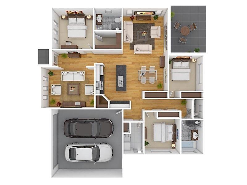 Denah Rumah Minimalis 3 Kamar Tidur Type 36 Dengan Garasi 3d 3dimensi Denah Rumah Desain Apartemen Desain Rumah