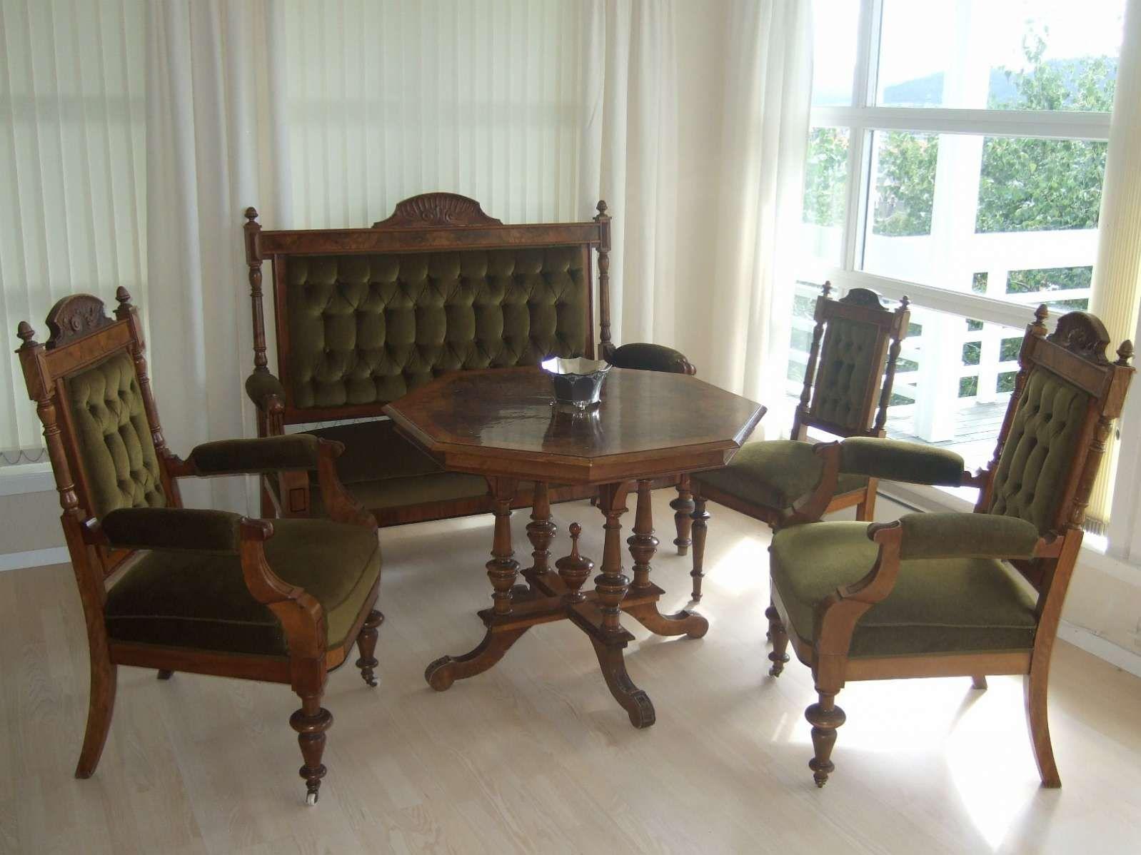 FINN – Ny pris! Antikk salong i ekslusiv grønn velour