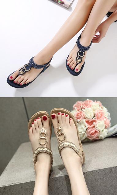 SIKETU new women Bohemia Flat sandals shoes woman String Bead flip flop  Metal Decoration beach sandals casual shoes size 35-45  sandals  fashion   style ... cda811b6124b