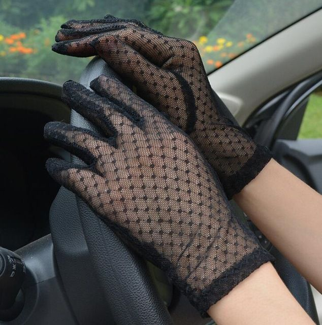 Women's Spring Summer Perspective Transparent Lace Gloves Sunscreen Black Mesh Driving Glove R1121 Color black #gloves