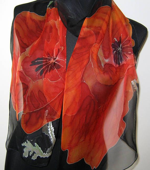 Poppies Scarf Hand Painted Floral Scarf Red Poppies Art