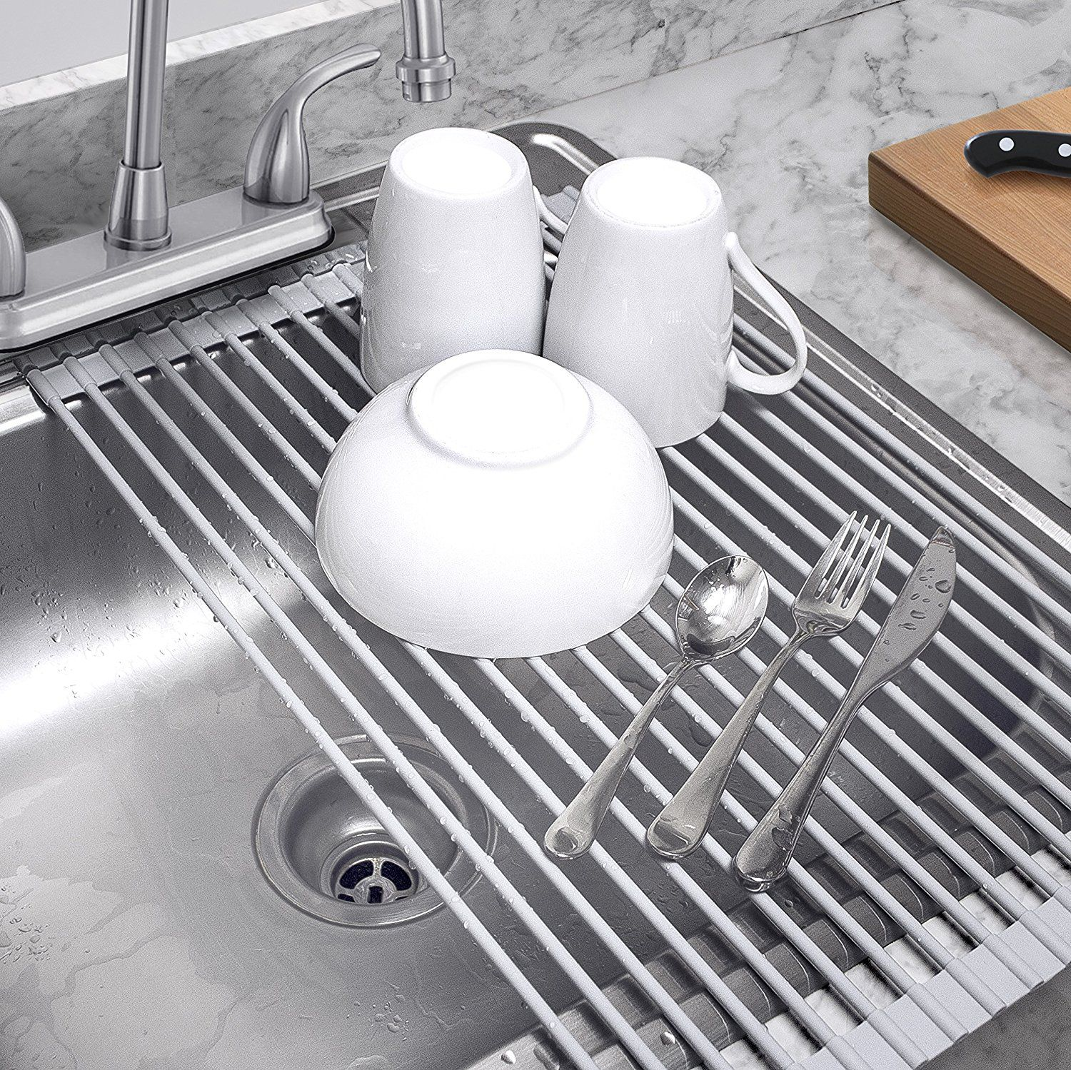 Amazon Com Sorbus Roll Up Dish Drying Rack Over The Sink Drying