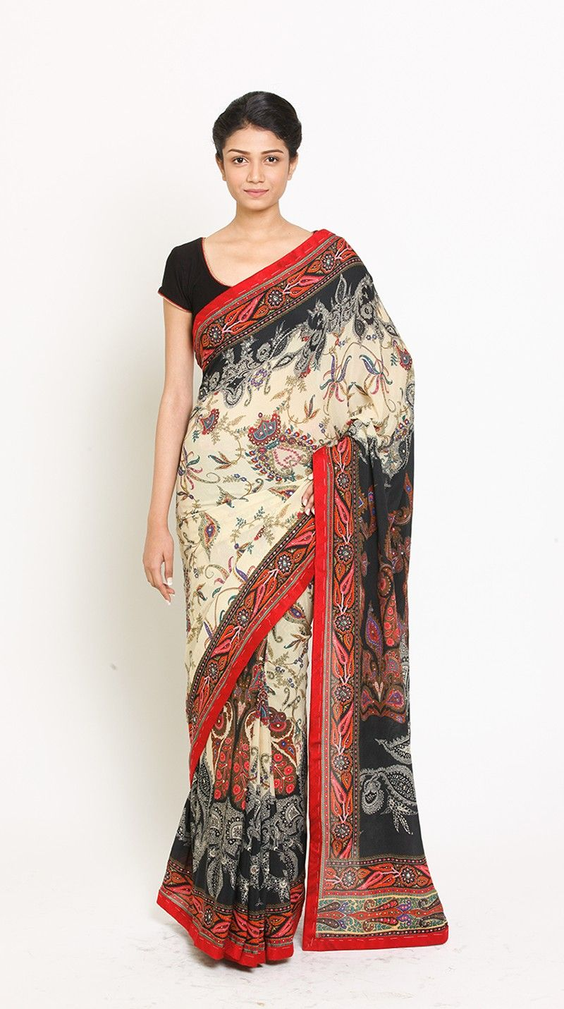 510047d920ae1b Buy Indian Designer Off White & Black Embroidered Saree With Unstitched  Blouse Online