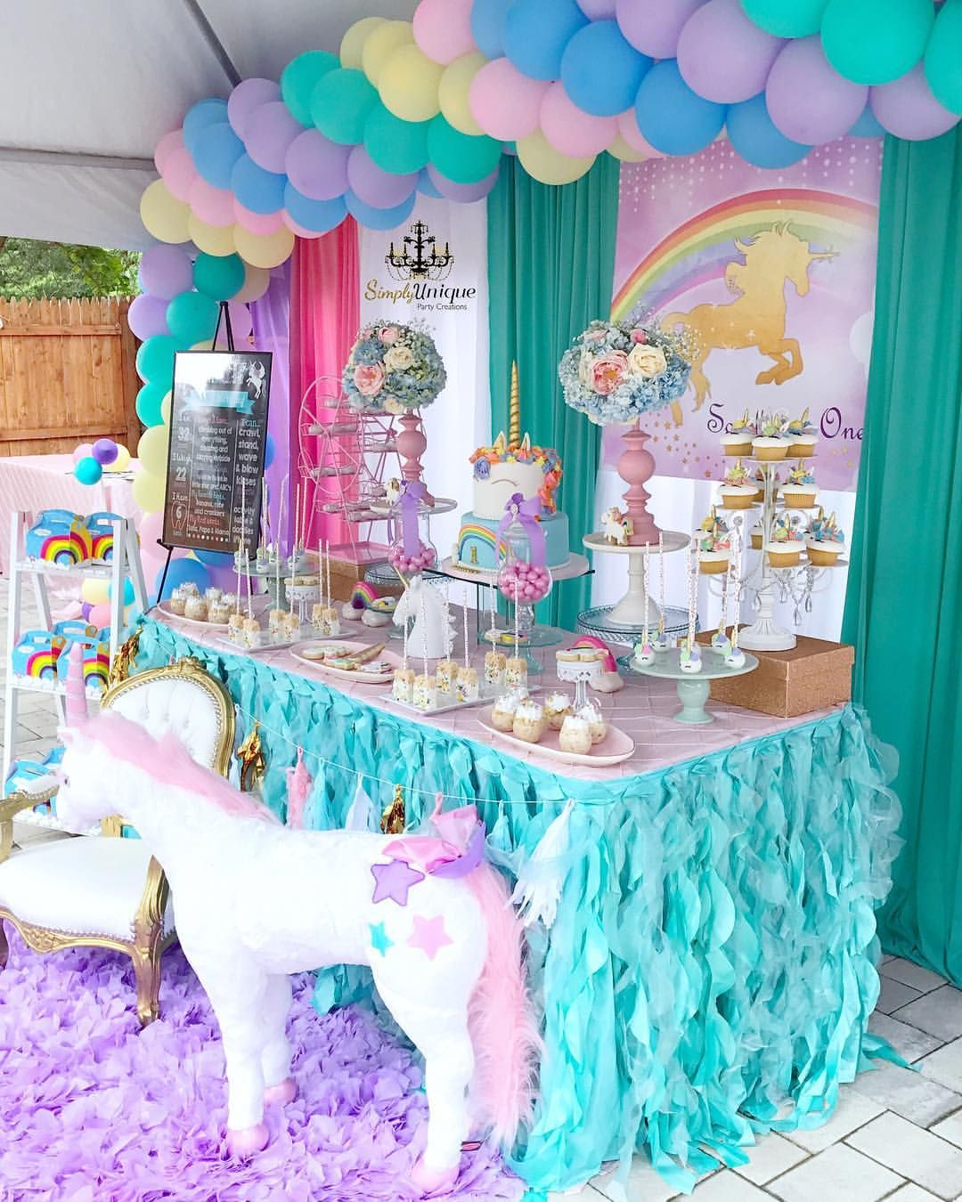 Unicorn Themed 1st Birthday decorated by us supartycreations Thank