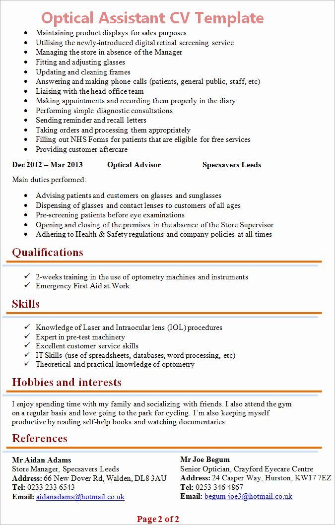 Sales Assistant Job Description Resume New Optical Assisstant Cv Template 2 Assistant Jobs Job Description Resume Template Examples