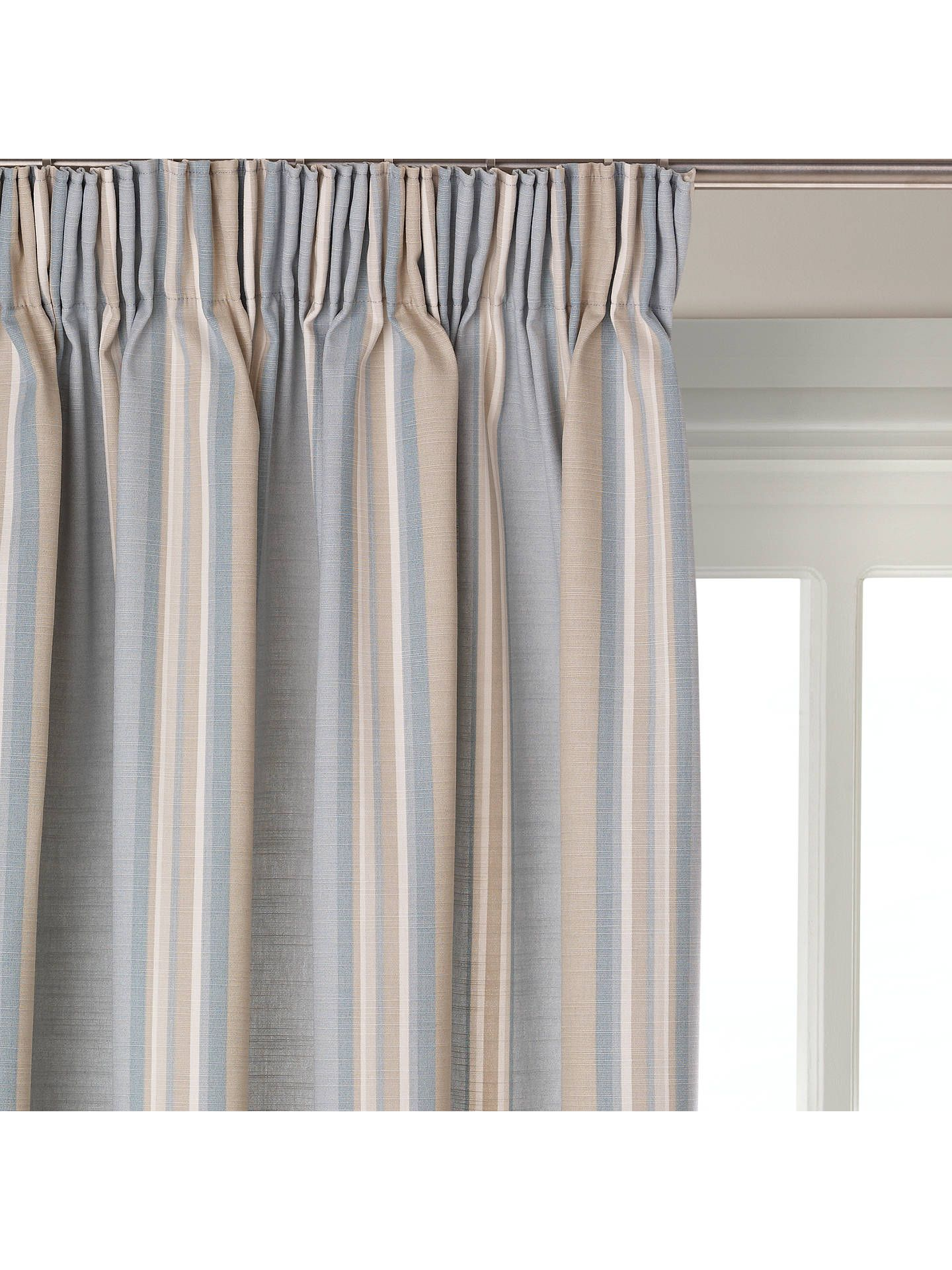 John Lewis Partners Alban Stripe Pair Blackout Lined Pencil Pleat Curtains Duck Egg Pleated Curtains Pencil Pleat Curtains