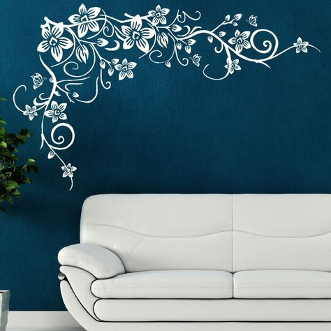 Home Décor Butterfly Vine CORNER Flower Wall Art Stickers Background Decal Art