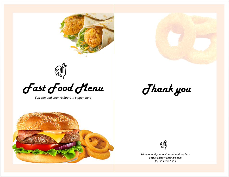 Fast Food Menu Template | Ideas for the House | Pinterest