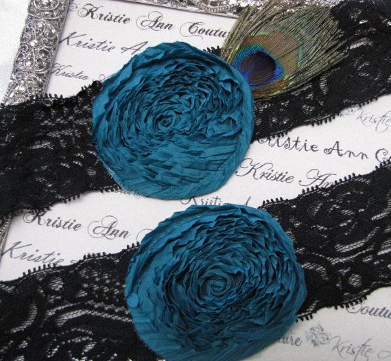 Heirloom Black Lace and Teal Rose Garter - Handmade Lace Bridal Garters with Vintage Flair