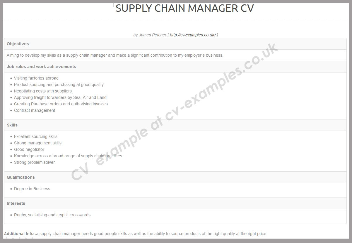 Cv example for supply chain manager cv examples