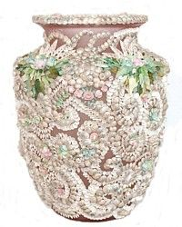 Vintage Pink Shellwork Glass Vase-antique,French, English, Sailor, shell,floral, rose, pink, purple, shabby,mop, mother, pearl,sailor, valentine, Martha, Stewart
