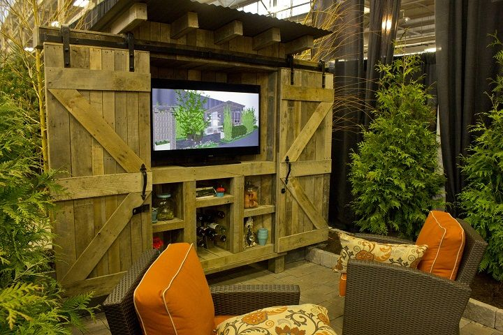 Patio Entertainment Center With Barn Door Closure At 2016 Indianapolis Home  Show.