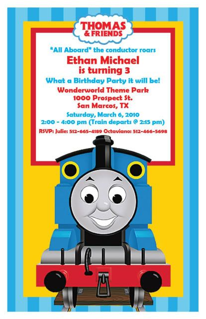 thomas the train birthday invitation - printable.digital file, Party invitations