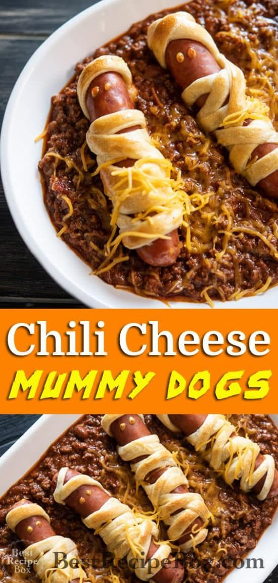 Chili Cheese Mummy Dogs #halloweenappetizerideas Chili Cheese Mummy Hot Dogs Recipe for Halloween Appetizer ideas @bestrecipebox #halloweenappetizerideas