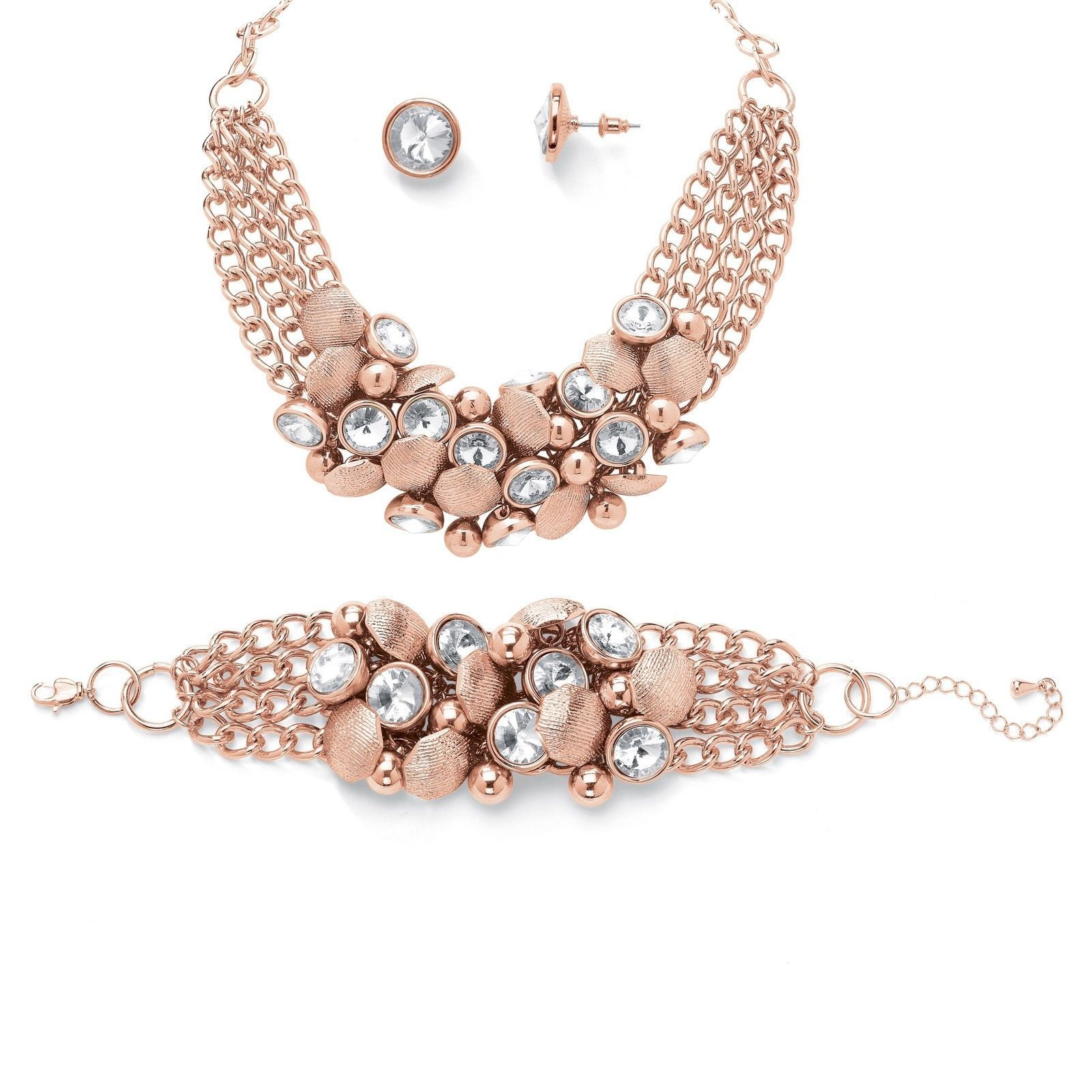 Palmbeach jewelry crystal necklace bracelet and earrings set rose
