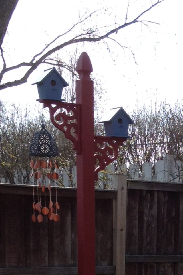 Close up of bird houses and post
