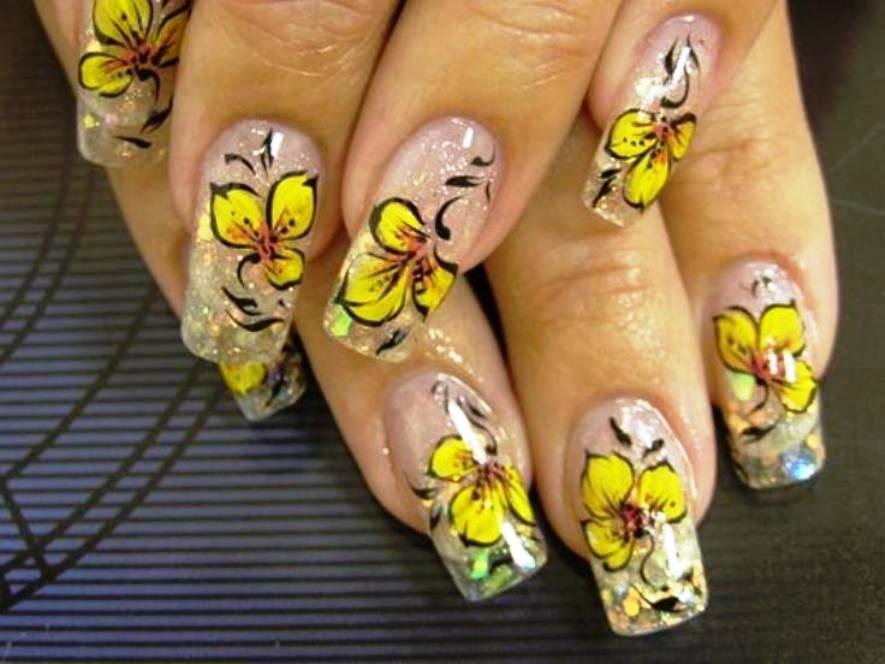 Yellow Flower Nail Art Yellow Nails Pinterest Yellow Nails