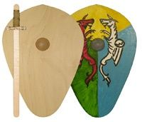 wooden toy shield and sword- your child can decorate!