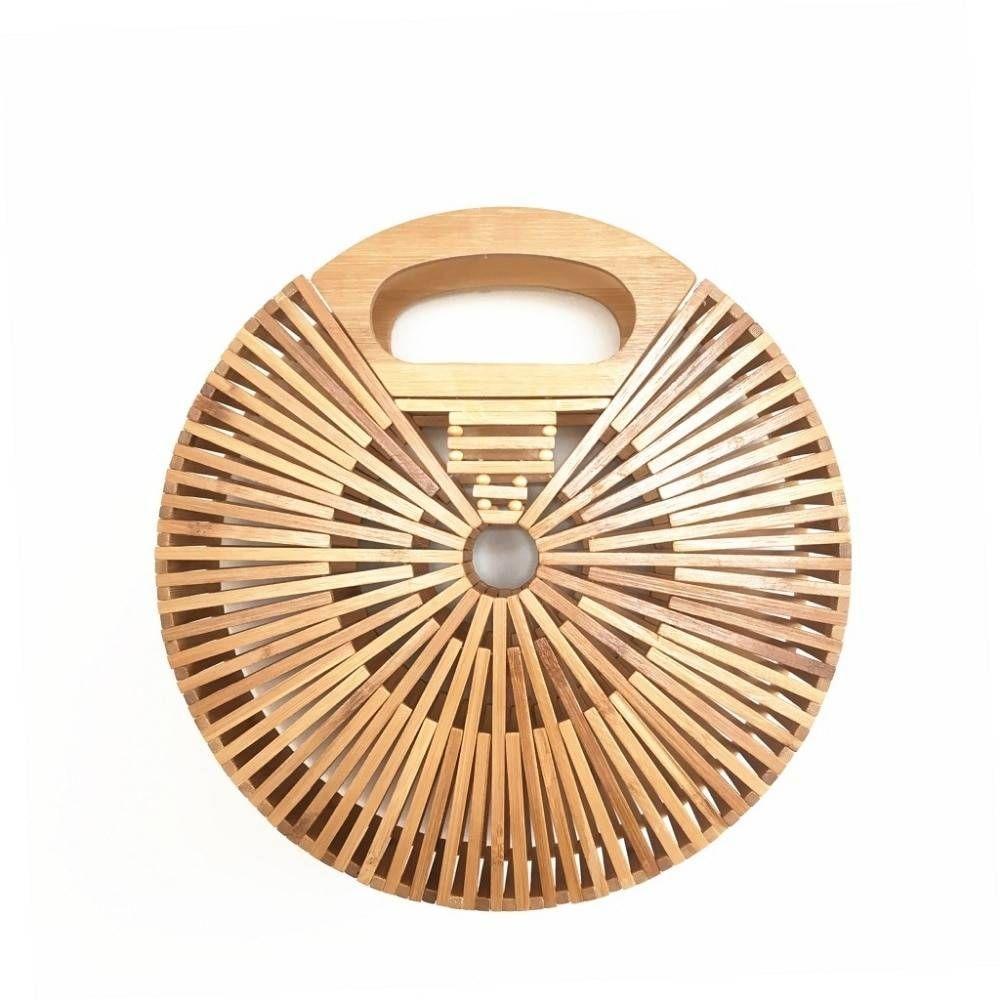 Bamboo Round Handbags for Women 2019 Hollow Out Summer Beach Bags Handmade Ladies Luxury Designer…
