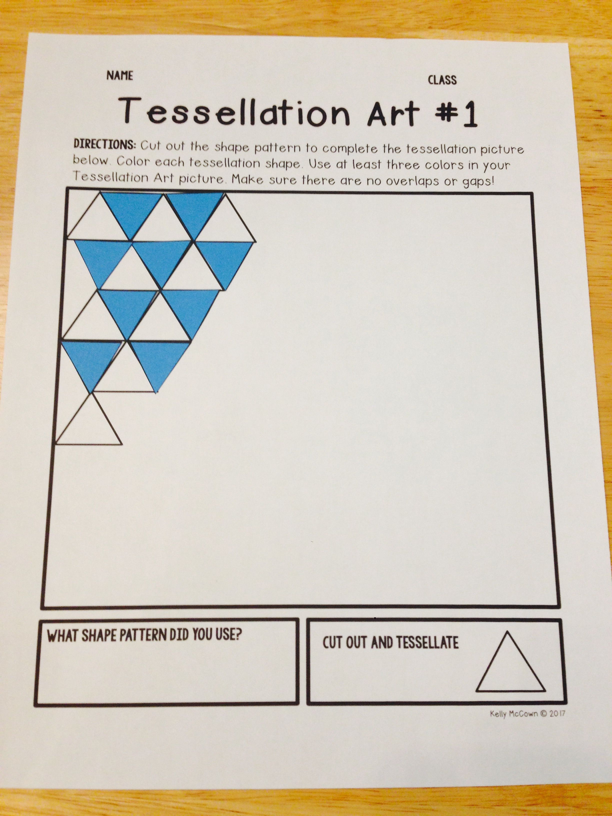 Math Art Worksheets : Tessellations elementary math project art