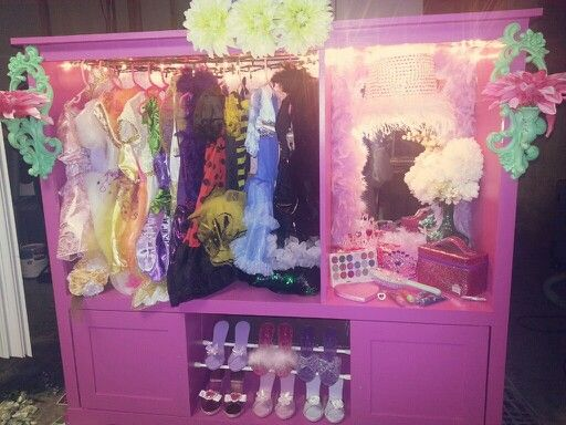 DIY Dress Up Closet I Made For My Little One :) Not Bad For An Old Entertainment  Center! Love The Lighted Mirror Idea Inside!