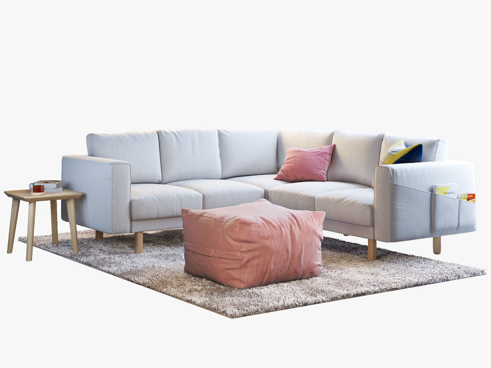 Fourseat corner sofa with coffee tables and rug