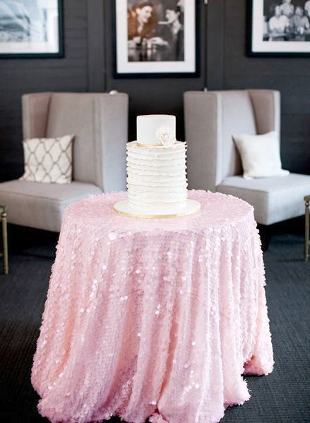 Baby Pink Sequin Tablecloth Made To Order Shiny Blush Light Pink