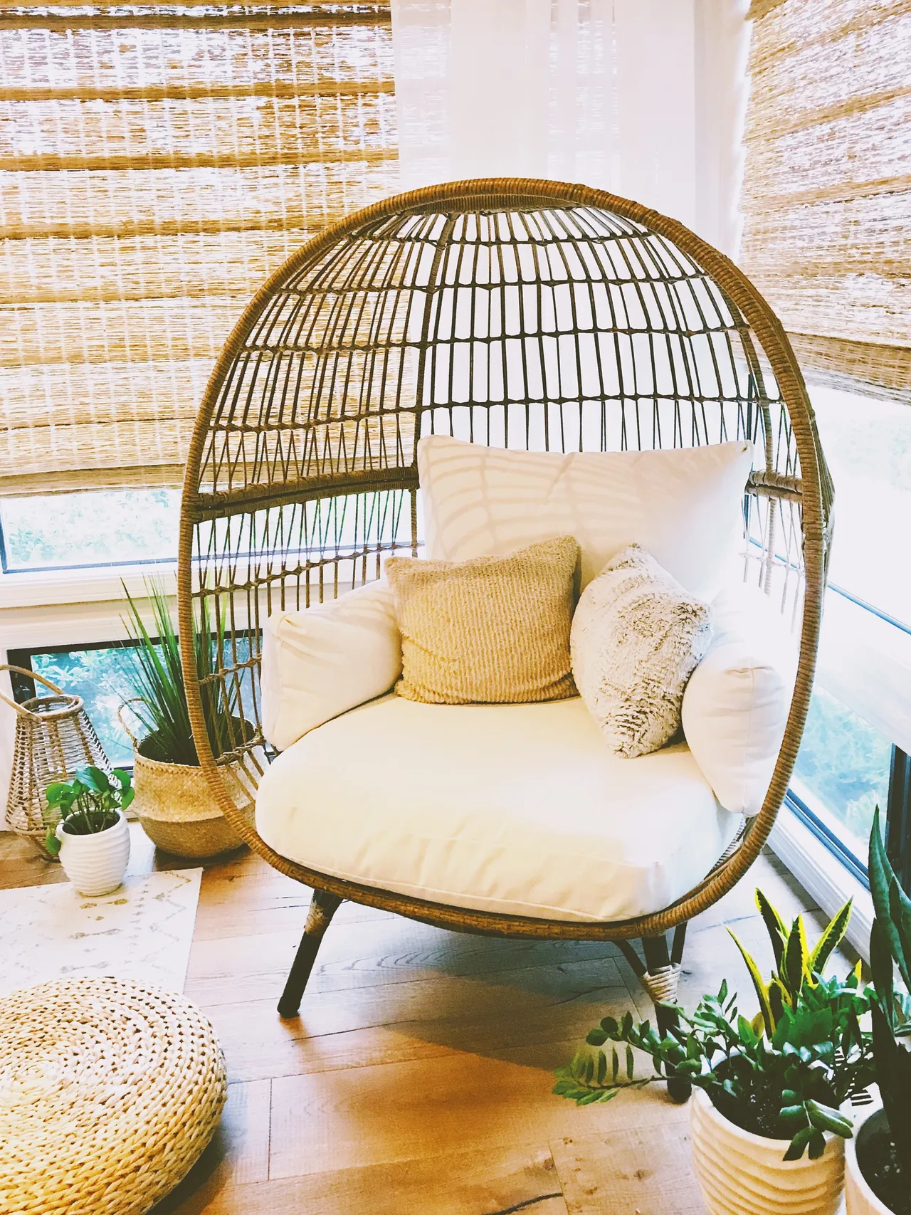 This Boho Chic Rattan Egg Chair Is The Perfect Indoor Nest For Now But Will Be Moving Out Outdoor Furniture Decor Rattan Egg Chair First Apartment Decorating