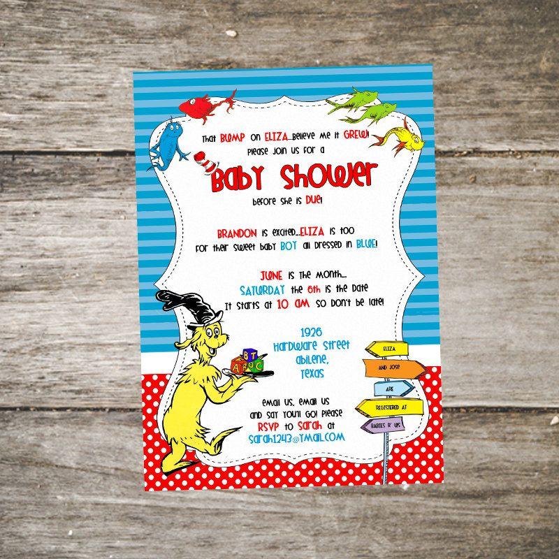 Dr. Seuss Baby Shower Invitation • Sam I Am Baby Shower Invitation ...