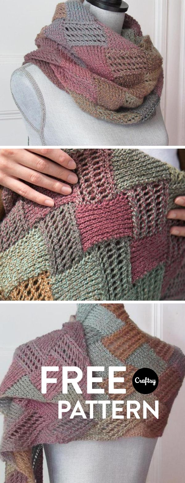 This is a fun and simple entrelac scarf that knits up quickly and is ...