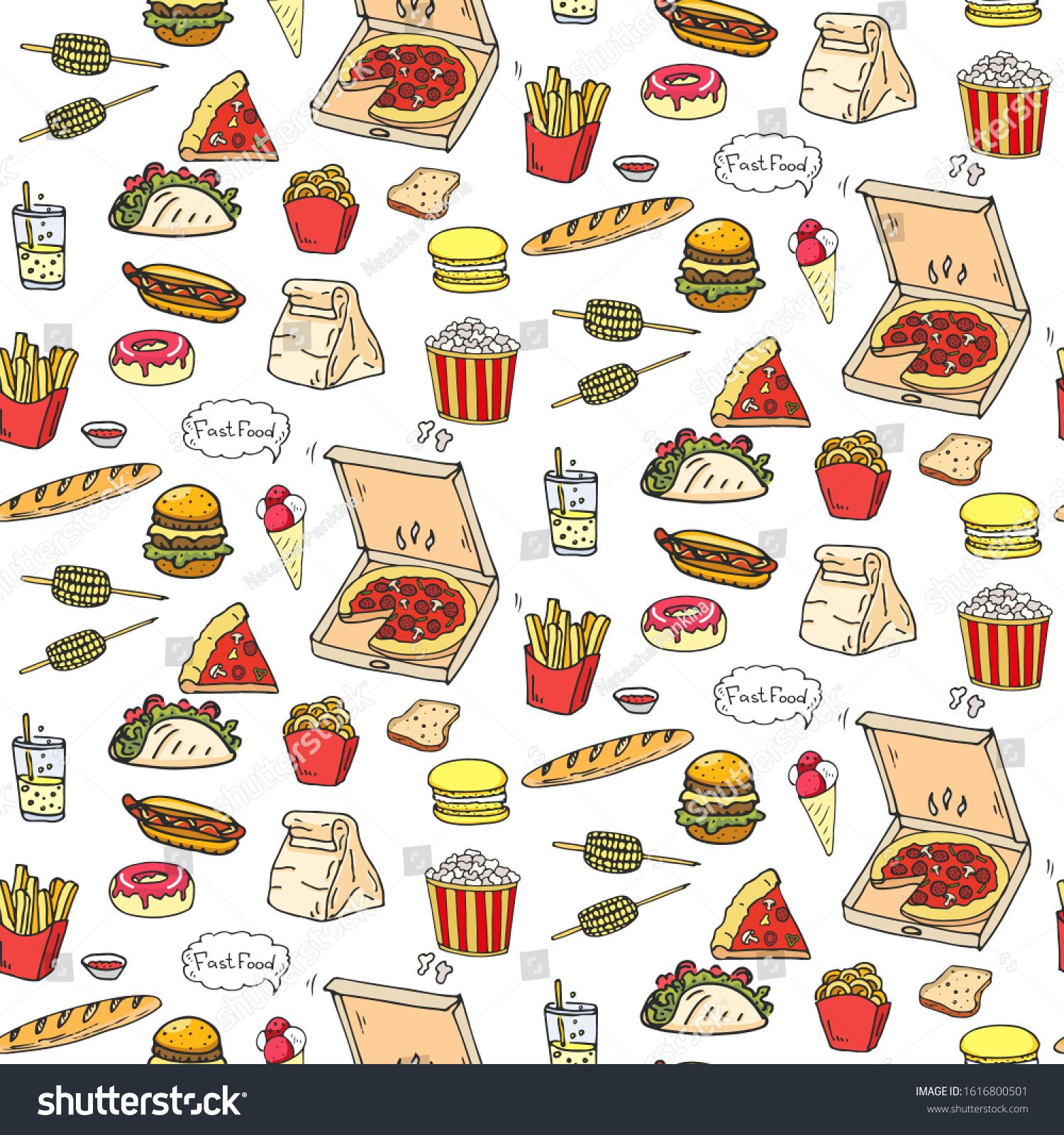 Seamless Background Hand Drawn Doodle Fast Food Icons Set Vector