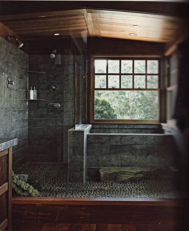 The 15 Most Beautiful Bathrooms On Pinterest: Huge Rustic, Corner Shower In The Master Bathroom