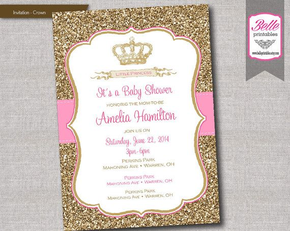 Baby Shower Invitation   Princess Crown For Girl And Gold Glitter  DIY  Printable   Pink
