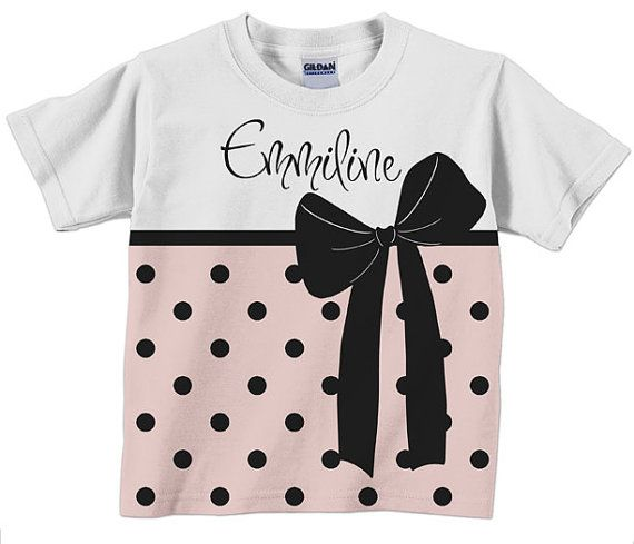 Personalized with polka dots and bow shirt