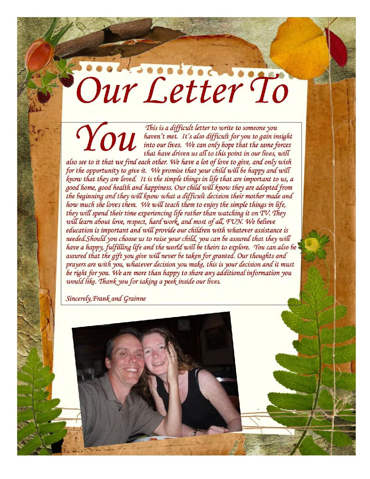 Our adoption profile letter | Adoption | Adoption, Birth mother