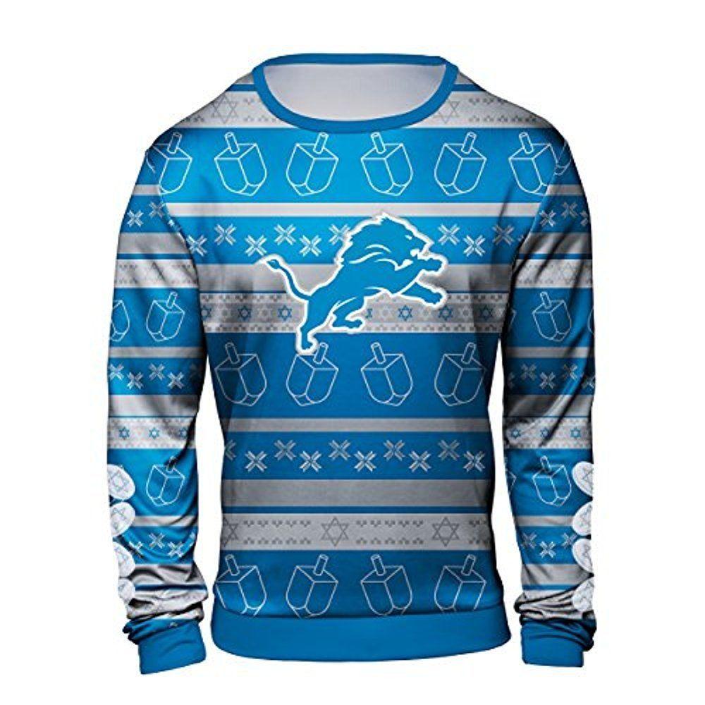 2d60c9601 Forever Collectibles NFL Men s Detroit Lions Hanukkah Ugly Crew Neck Sweater   40.49 End Date  2019