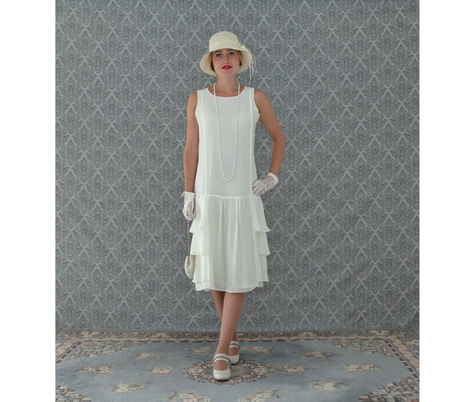 A darling 1920s-inspired dress in cream with tiered skirt, Roaring ...