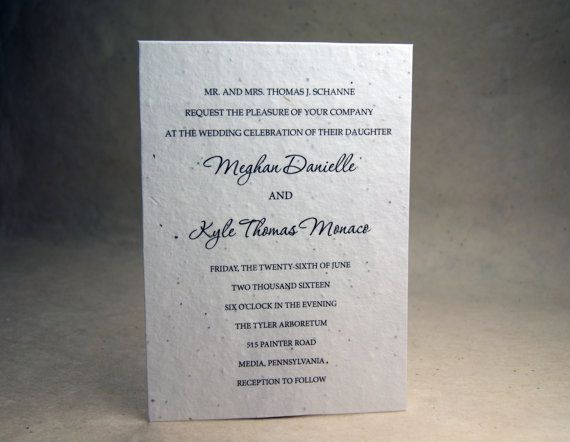 white seed paper invitations custom printed with cut edge finish