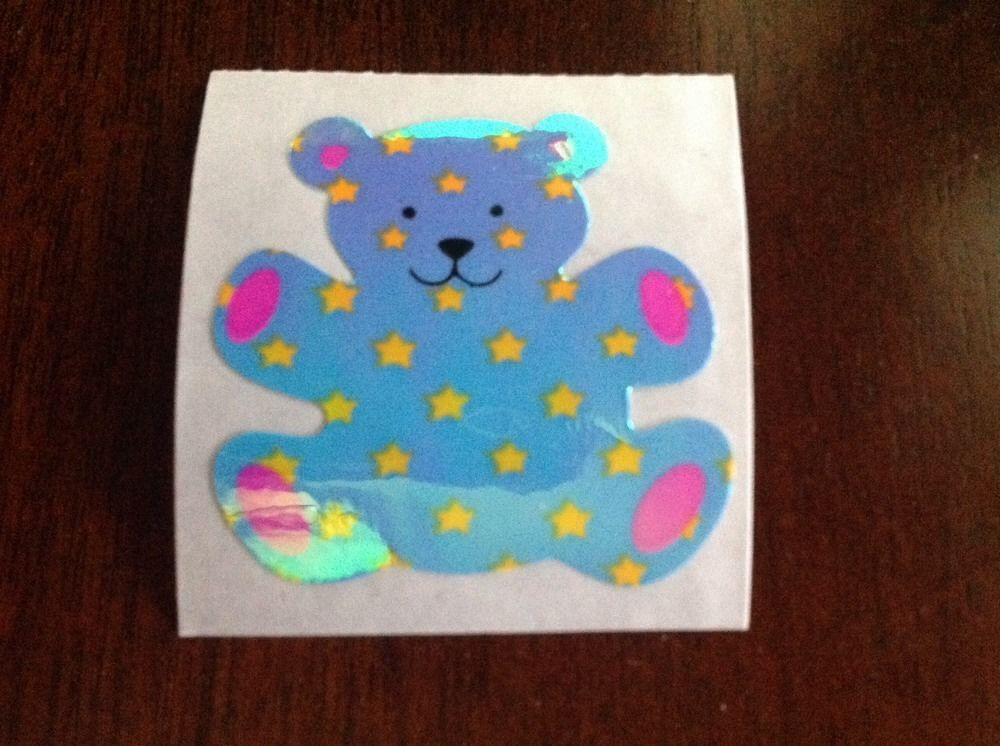 Vintage 80s Sandylion Pearly Blue And Yeallow Star Teddy Bear Sticker Mod