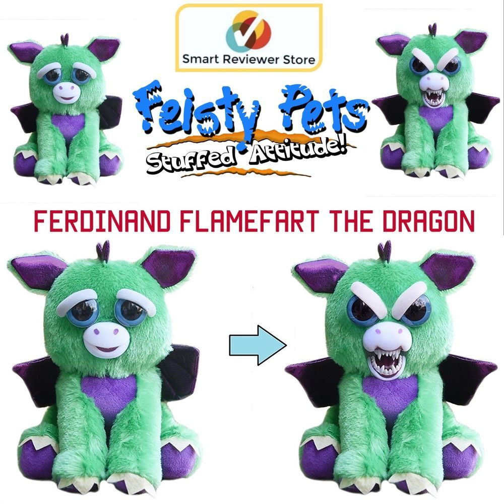 Feisty Pets Cute To Scary Stuffed Animal Plush Squeeze Toy Flamefart Dragon Feistypets Kids Toys Pets Toys